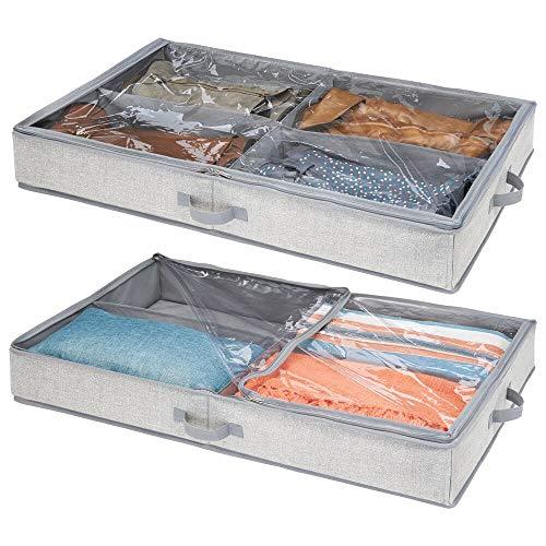 mDesign Unterbettkommode mit 4 praktischen Fächern – Unterbett Aufbewahrungsbox für Kleidung und Schuhe – platzsparende Kleideraufbewahrung aus atmungsaktivem Polypropylen – grau - 2er Set