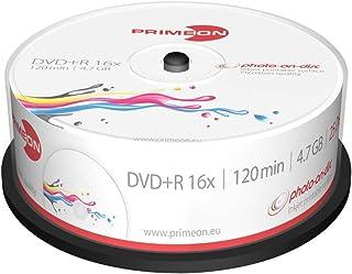 PRIMEON DVD+R 4.7GB/120Min/16x Cakebox (25 Disc), 2761225 ((25 Disc) photo-on-disc Surface, Inkjet Fullsize Printable)