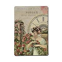 女の子のバラの時計の花、ブリキのサインヴィンテージ面白い生き物鉄の絵画金属板ノベルティ