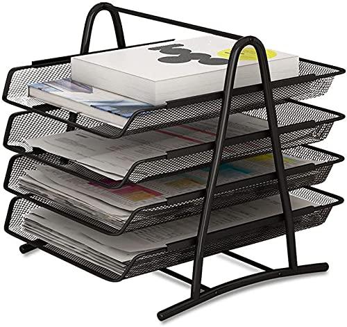 YDTZ Soporte para archivos, organizador de papel de oficina, archivo de documentos A4, libro de cartas, bandeja de llenado de folleto, soporte de almacenamiento de malla de alambre de metal
