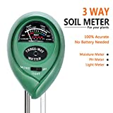 Your's Bath Soil Tester 3 in 1 Soil PH Tester Soil Moisture Meter, Light and PH Acidity Soil Tester Tool for Flowers Grass Plant Garden Farm Lawn Indoor & Outdoor (No Battery needed)