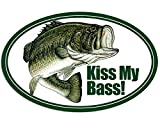 Magnet 3x5 inch Oval Kiss My Bass Sticker - Decal Fish Fishing Fisherman Stream Funny Magnetic Magnet Vinyl Sticker