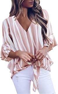 Imysty Womens V Neck Striped Floral Blouses 3/4 Flare Sleeve Tie Knot Casual Summer T-Shirt Tops