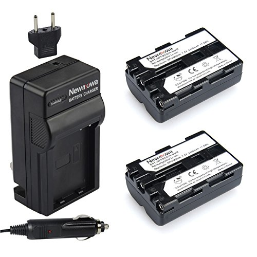 Newmowa NP-FM500H Replacement Battery (2-Pack) and Charger Kit for Sony Alpha A57 A58 A65 A77 A99 A500 A550 A560 A580...