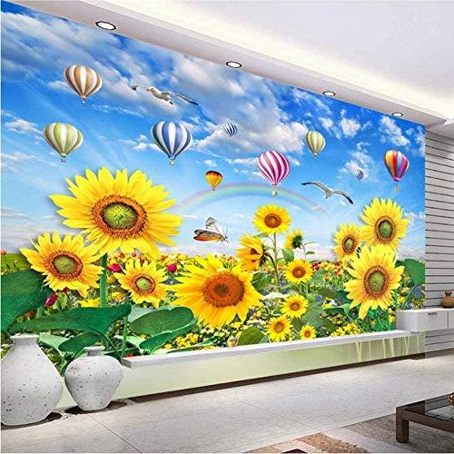 ZJfong aangepaste 3D-fotobehang blauwe hemel witte wolken heteluchtballon zonnebloem muurschildering zelfklevend voor slaapkamerwanden 140 x 70 cm.