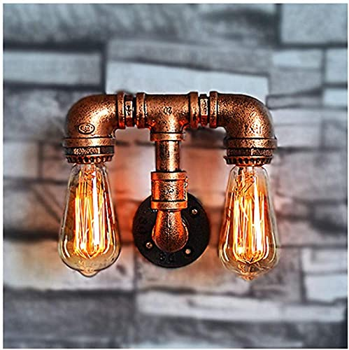 DFGBXCAW Lámpara de Pared Retro Twin Vintage Industrial Lámpara de Pared Iluminación Alambre rústico Apliques de Metal Lámpara de Interior para el hogar Estilo de país Americano Double Ste