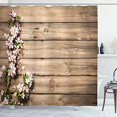 """Ambesonne Rustic Shower Curtain, Spring Flowering Tree Branch on Weathered Wooden Blooming Orchard Image, Cloth Fabric Bathroom Decor Set with Hooks, 75"""" Long, Pink Brown"""