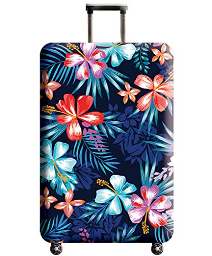 Luggage Cover, THome Protective Washable Suitcase Cover - Travel Elastic Spandex Suitcase Protector with Luggage Tag Fits 22 to 24 Inch Flower