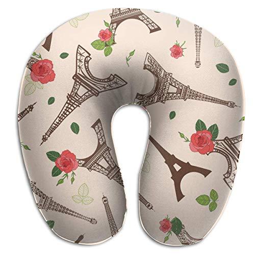 Almohada para el Cuello Vintage marrón Torre Eiffel París y Rosas Almohada de Viaje en Forma de U Diseño ergonómico Contorneado Funda Lavable