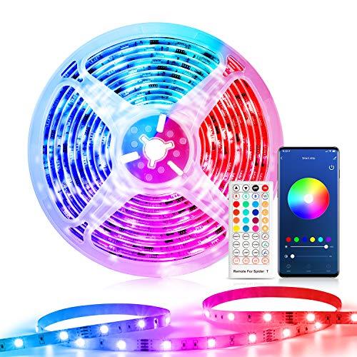 Smart Striscia LED 10M Intelligente WiFi, Etersky Strisce luci Led Alexa RGB 5050 Compatibile con Alexa Echo e Google Home, Strip Led Musicale con Telecomando per Casa, Stanza da Letto, Cucina, Festa