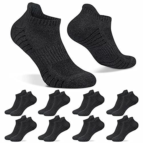 HISOKOI 8 Pares Calcetines Tobilleros Hombre Mujer Calcetines Deportivos Cortos Running Transpirable,Grisoscuro 35-38