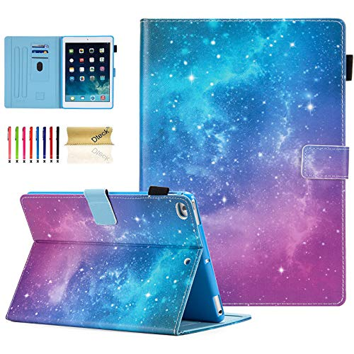 iPad Case 9.7 Inch 2017 2018/iPad Air Case/iPad Air 2 Case, Dteck Compatible with Apple iPad 6th/5th Generation Cases with Pencil Holder, Auto Sleep/Wake, Multi-Angle Stand Cover - Galaxy