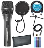 Audio-Technica AT2005USB Cardioid Dynamic USB and XLR Microphone for Voiceover, Podcasting, Music Recording Bundle with Blucoil Pop Filter Windscreen, 10-FT Balanced XLR Cable, and 5X Cable Ties