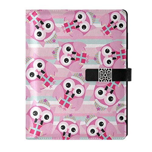 Cuaderno de piel para escribir diarios, cuaderno de notas, cuaderno de viaje, bonito búho rellenable A5 interior de relleno, carpeta de anillas, cuaderno de tapa dura, regalos para hombres y mujeres