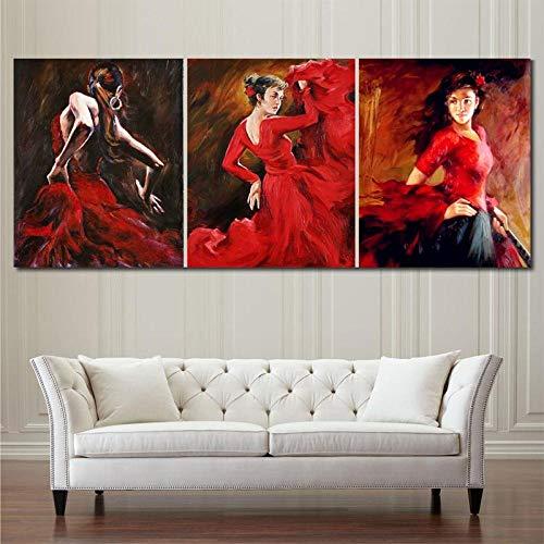 Imprimer peintures à l'huile toile danseuse de flamenco femme espagnole robe rouge vif figure art pour décoration murale/50x70cmx3Pcs-Pas de cadre