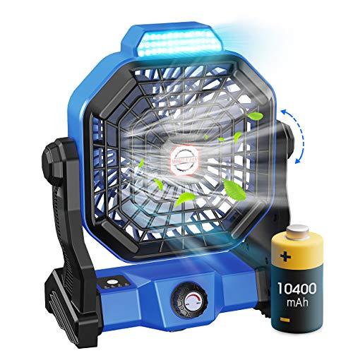 Leise Tischventilator, Tesoky 10400mAh Wiederaufladbar 270° Rotieren Ventilator Tragbar LED Licht Outdoor Camping Ventilator mit Haken/USB-Aufladung für Büros,Schlafzimmer,Zelt,Camping Reisen