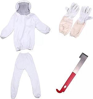 soarflight Conjunto de 4 peças para apicultor, roupa de apicultor, macacão protetor com capuz de véu acessórios de apicult...