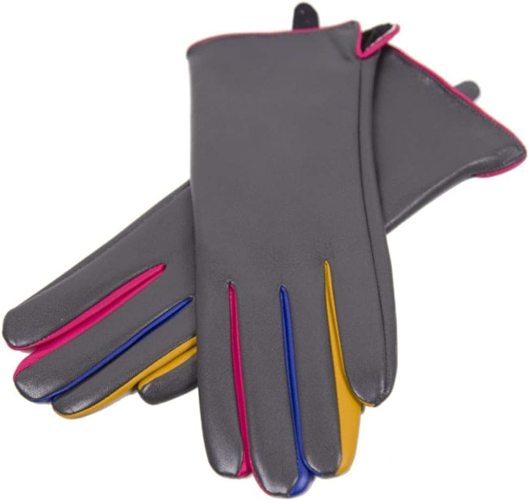 Women's Warm Winter Fashion Solid Color Gloves Slim Fit Multicolor Design Pattern Faux Leather Cold Weather Accessories