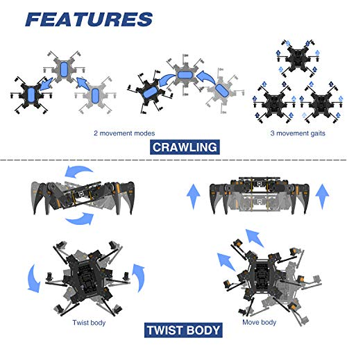 Freenove Hexapod Robot Kit with Remote (Compatible with Arduino IDE Raspberry Pi OS), App Remote Control, Walking Crawling Twisting Spider Servo STEM Project