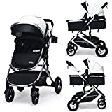 INFANS Baby Stroller for Newborn, 2 in 1 High Landscape Convertible Reversible Bassinet Pram for Infant & Toddler, Foldable Aluminum Alloy Pushchair with Adjustable Backrest, 3D Suspension (White)