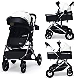 INFANS Baby Stroller for Newborn, 2 in 1 High Landscape Convertible Reversible Bassinet Pram for Infant & Toddler, Foldable Aluminum Alloy Pushchair with Adjustable Backrest, 3D Suspension (White)