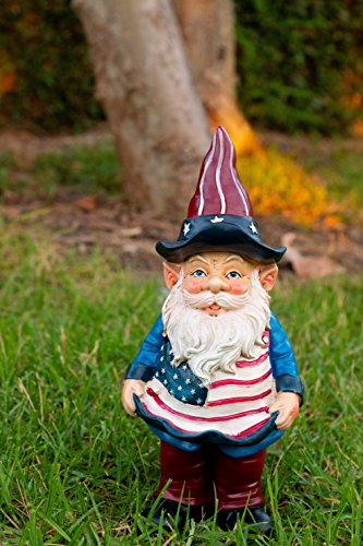 Alpine Americana Gnome with Flag Apron Bird Feeder, 12 Inch Tall
