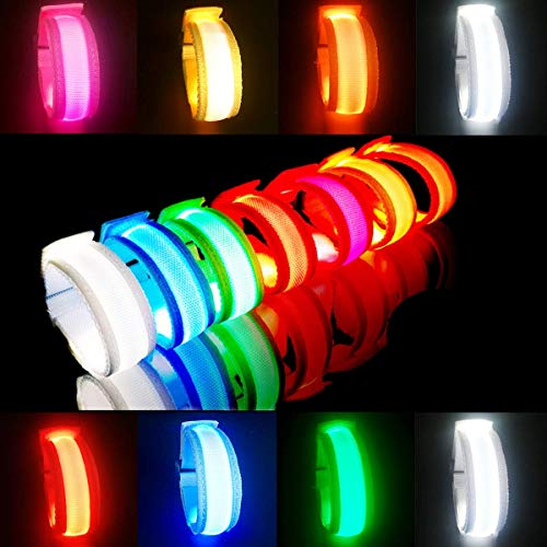 LED Glow Bracelets Light Up Wristbands Flashing Arm Wrist Bands, Flashing Sports Wristband Pack of 8 Glow in The Christmas Dark Party Supplies for Concerts, Festivals, Sports, Parties, Night Even.