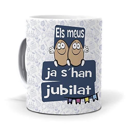 mundohuevo Taza Regalo jubilación Hombre en Catalan ELS meus Ous ja shan Jubilat. Ceramica AAA - 350 ml.