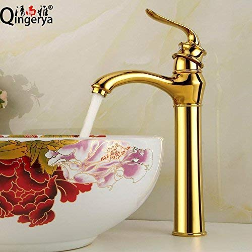 Modern Kitchen taps Washbasin Sink Kitchen tap Faucet with Standard UK taps Basin Faucet Art Enhancement Basin Faucet Gold hot and Cold Over Sink