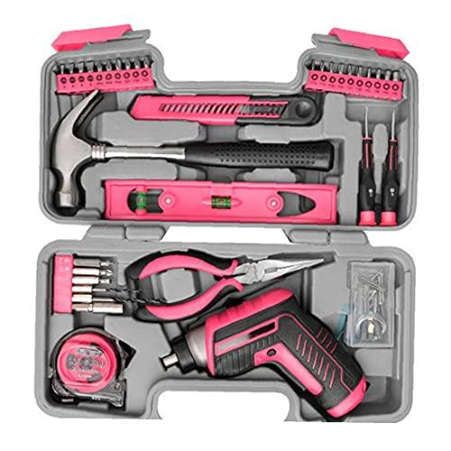 Yililay Destornillador eléctrico, Inicio Tool Kit, USB Recargables pedacitos de la Herramienta de Mano Alicates Martillo para la reparación del hogar (Rosa) 35PCS