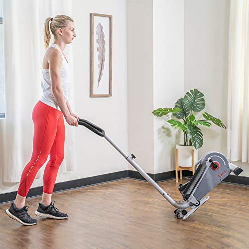 Product Image 14: Sunny Health & Fitness Magnetic Standing Elliptical with Handlebars – SF-E3988, Grey