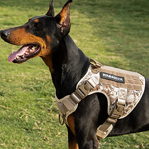Kindacoool Tactical Dog Harness for Large Medium Dogs, Military Dog Harness with 4X Locking Buckle, Molle & Loop Panels, Adjustable No-Pull Dog Vest for Training Hunting Walking (M, Desert Camo)