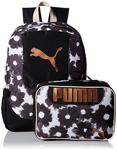 PUMA Big Kid's Lunch Box Backpack Combo, black/gold, OS