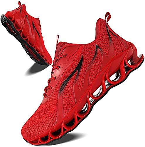 YILYMINA Zapatillas de deporte para hombre y mujer, zapatillas de deporte, para el tiempo libre, para correr, caminar, para exteriores, color rojo - 40 EU