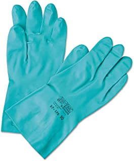 Ansell Chemical Resistant Gloves Size 10 Nitrile 15 Mil 13 In Longsandpatch finish Flock Lined Straight Cuff Green Sol-Vex 37-175-10 12Pairs