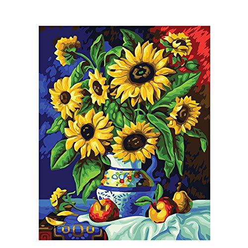 RGWSDJ - Cuadro de aceite digital para manualidades, lienzo, crisantemo antiguo, retro, decoración, regalo, arte, paisaje, Street View, decoración para oficina, 40 x 50 cm