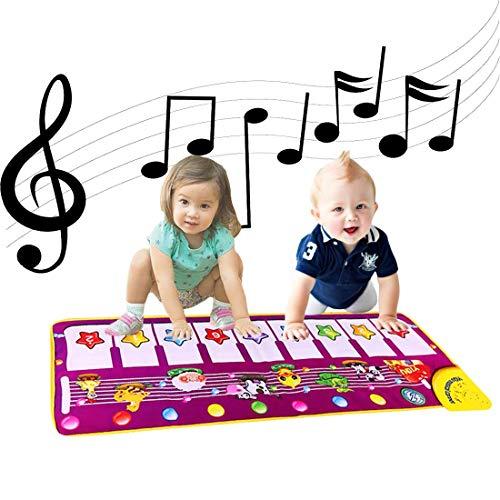 Baby piano muzikale matten, ALITREND elektronische muziek dansmat dier toetsenbord speelmat tapijt deken voor kinderen, jongens meisjes baby educatief speelgoed, Purper