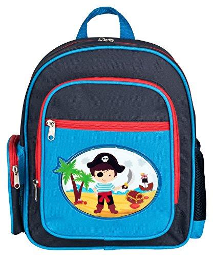 Aminata Kids - Rucksack Kindergarten Junge Piraten| hochwertiger Kinder-Rucksack aus Nylon, 4 Fächern mit Reißverschluss | Bequeme Tragegurte | blau, rot | wasserabweisend | Geschenk-Idee