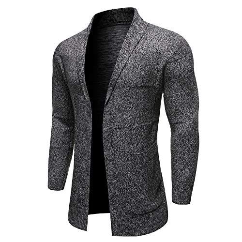 JYKING Herren Strickjacke Geschäft Einfarbig Herbst Winter Cardigan Jacke Top Langarm Slim Fit Sweater Dunkelgrau XXL
