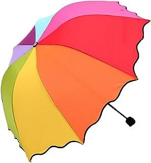 Large Rainbow Storm Proof Umbrella Windproof Foldable Umbrella Multi-Coloured with 8 Ribs