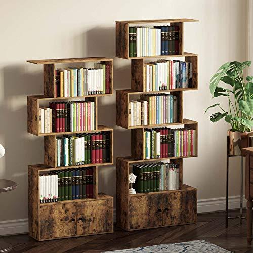 Rolanstar Bookshelf with Doors, 6-Tier Bookcase with Cabinet, Freestanding Bookshelves Storage Display Cabinet, Rustic Wood Bookshelf for Living Room, Bedroom, Home Office