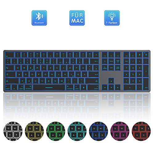 Jelly Comb Bluetooth Beleuchtete Funktastatur, Kabellose Wiederaufladbare Ultraslim Fullsize Tastatur, QWERTZ Deutsches Layout, mit 7 farbigen Beleuchtung für MacBook, iMac, Mac OS, iPad, Grau