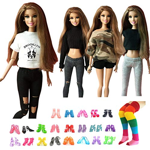 UUsave 4 Sets Handmade Doll Outfits Set + 10 Pairs Doll Shoes + 1 Pair Stocking Fashion Casual Wear Clothes 1/6 Doll Clothing Replacement for 11.5 inch Doll