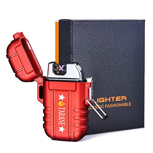 Plasma Lighters, Waterproof Windproof Flameless Lighters Dual Arc USB Electric Lighters Rechargeable for Outdoor/Camping/BBQ/Hiking (Red New)