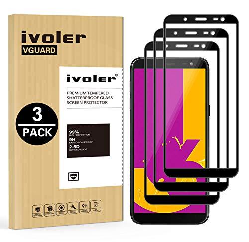 ivoler [3 Unidades] Protector de Pantalla Compatible con Samsung Galaxy J6 2018, [Cobertura Completa] Cristal Vidrio Templado Premium, [Dureza 9H] [Anti-Arañazos] [Sin Burbujas]