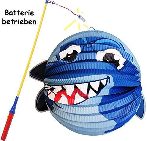 alles-meine.de GmbH 2 TLG. Set: Laterne / Lampion + LED Laternenstab -  Hai - Fisch - RUND  - für Kinder - Papierlaterne aus Papier - Lampe - Laternen Lampions - Stab - Figur -..