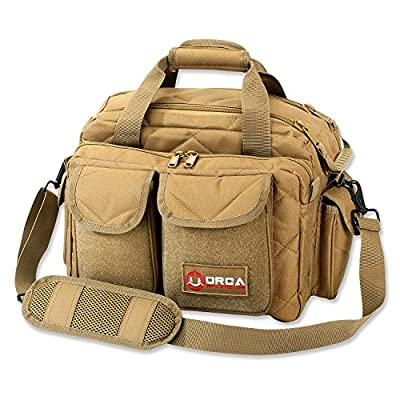Orca Tactical Gun Shooting Range Bag Handgun Pistol and Ammo Duffle Carrier (Coyote Brown)
