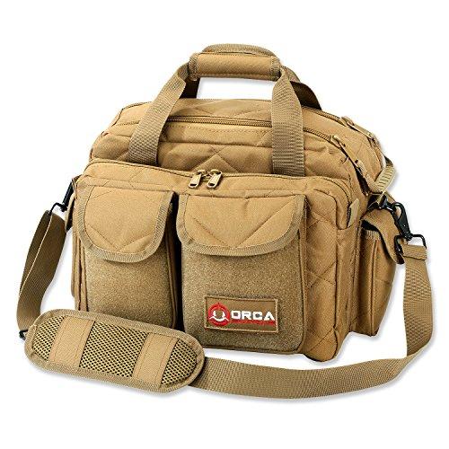 Orca Tactical Gun Shooting Range Bag Handgun Pistol and Ammo Duffle Carrier (Coyote Brown)