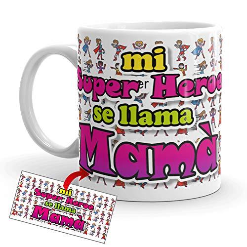 Kembilove Taza Desayuno para Madres – Tazas Originales Graciosas con Mensaje Mi superhéroe se llama Mamá – Taza de Café y Té para Madres para regalar el día de la madre – Tazas de 350 ml