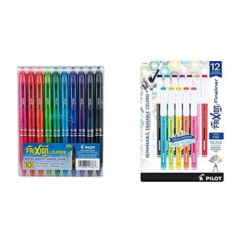 PILOT FriXion Clicker Erasable, Refillable & Retractable Gel Ink Pens, Fine Point, Assorted Color Inks, 10-Pack & FriXion Fineliner Erasable Marker Pens, Fine Point, Assorted Color Inks, 12-Pack